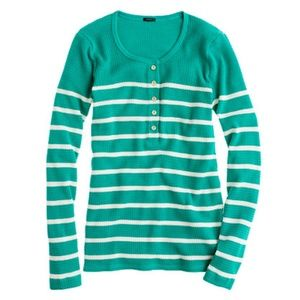 J.Crew Green Thermal Henley Stripe Gold Button Top